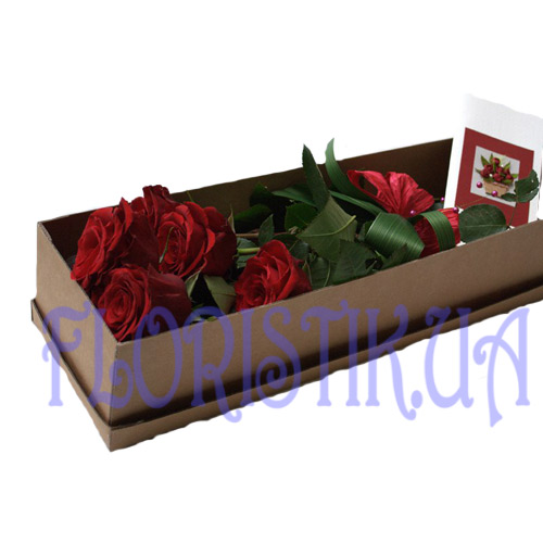 Box 5 festive roses ― Floristik — Shop online flower delivery all over Ukraine.