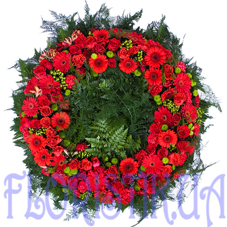The wreath of red flowers ― Floristik — Shop online flower delivery all over Ukraine.
