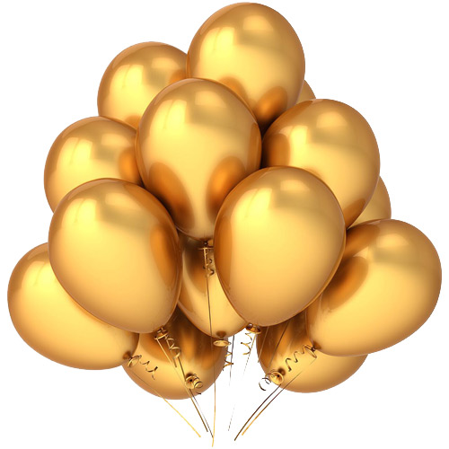 Golden helium balloons ― Floristik — Shop online flower delivery all over Ukraine.