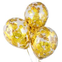 Set of 3 balls with golden confetti