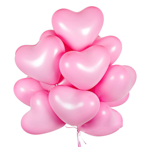 A set of helium balls (pink hearts) ― Floristik — Shop online flower delivery all over Ukraine.