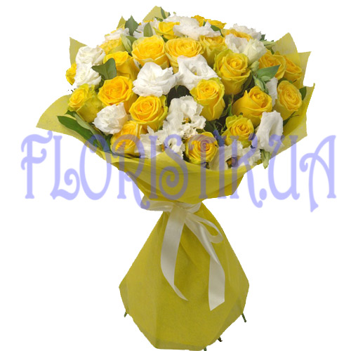 Bouquet of roses and Aust ― Floristik.ua — Shop online flower delivery all over Ukraine and the world