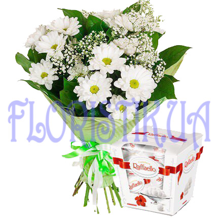Bouquet of chrysanthemums and candy ― Floristik — flower delivery all over Ukraine