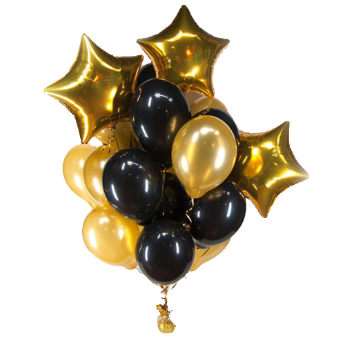 A set of helium balls (black and gold) ― Floristik — Shop online flower delivery all over Ukraine.
